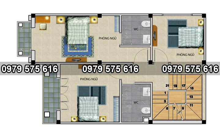 mẫu biệt thự mái thái 7x10.5m