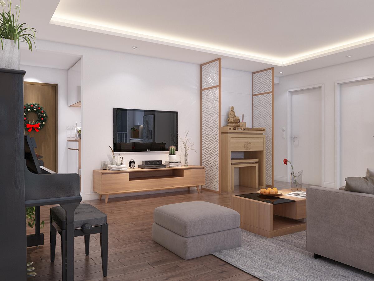 thiết kế nội thất phòng khách và phòng bếp hiện đại cho biệt thự