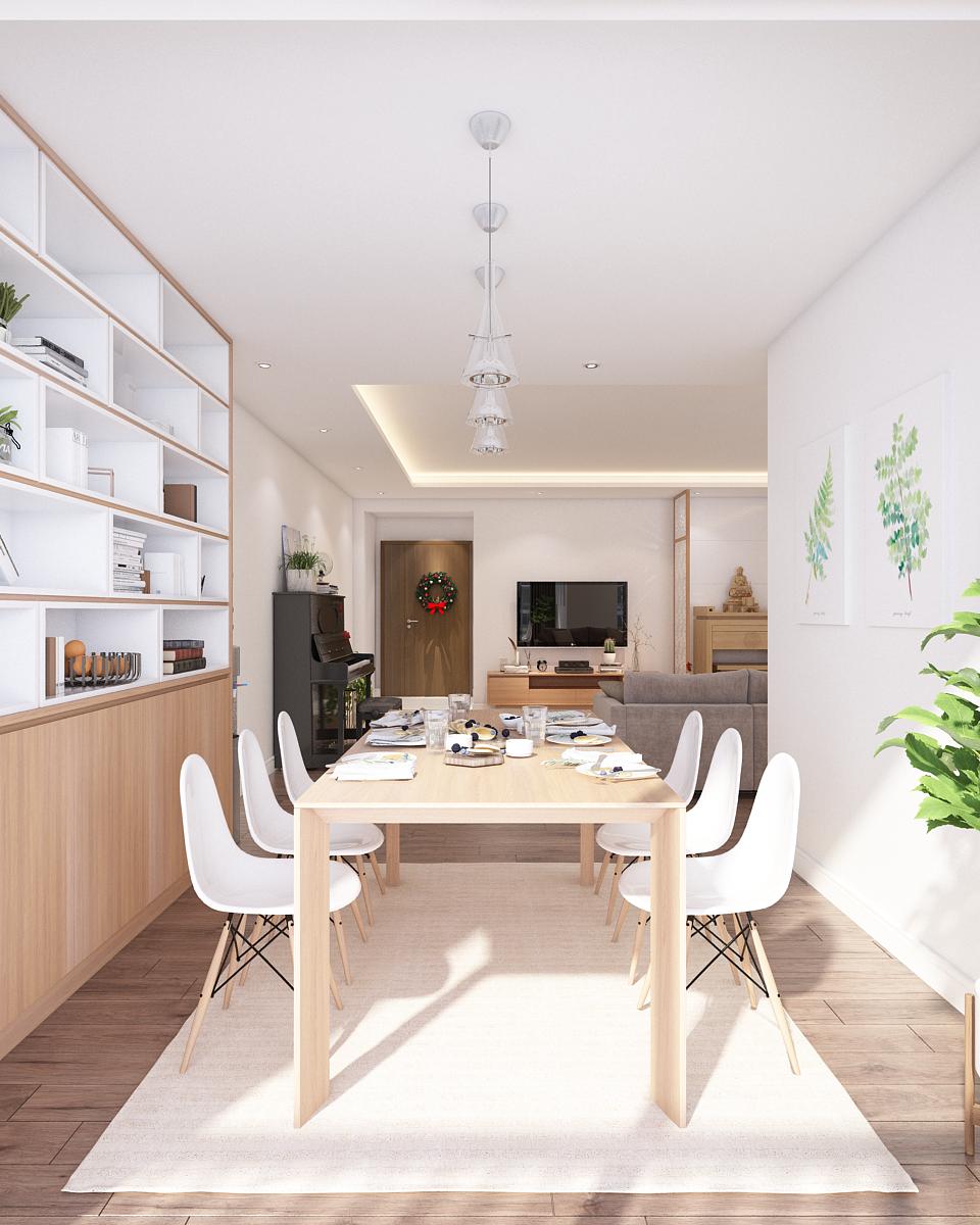 thiết kế nội thất phòng khách và phòng bếp hiện đại cho biệt thự2