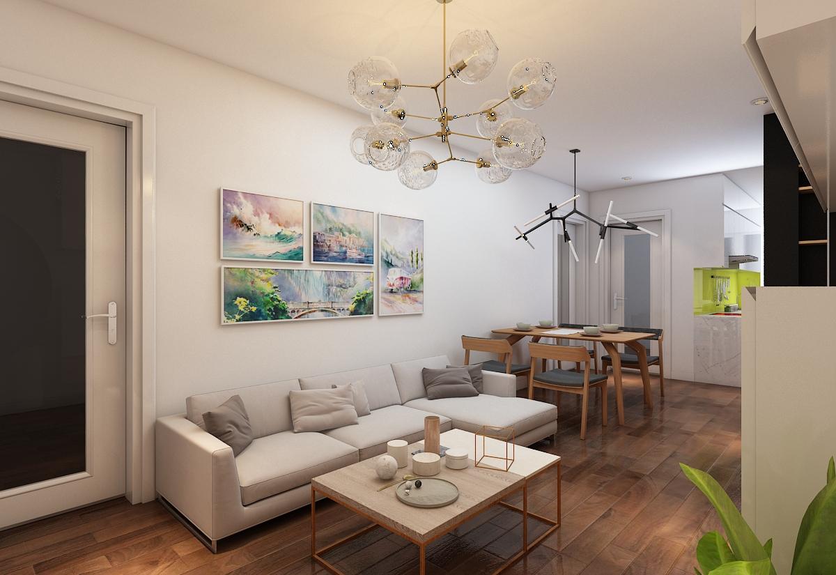 thiết kế nội thất chung cư 1 phòng khách, 1 phòng bếp và 3 phòng ngủ