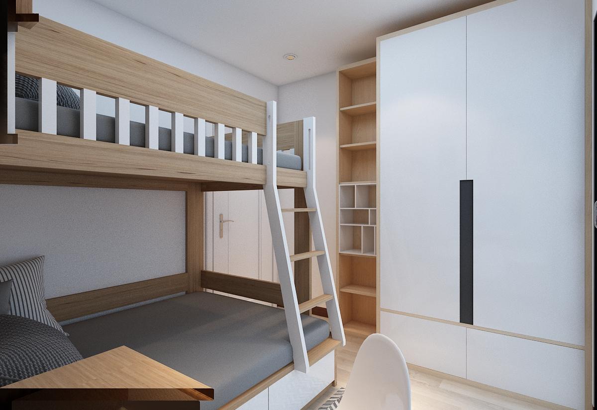 thiết kế nội thất chung cư 1 phòng khách, 1 phòng bếp và 3 phòng ngủ4