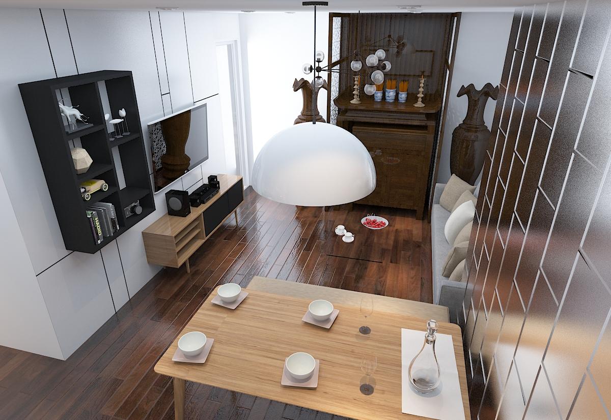 thiết kế nội thất chung cư 120m2 tại quận Hà Đông