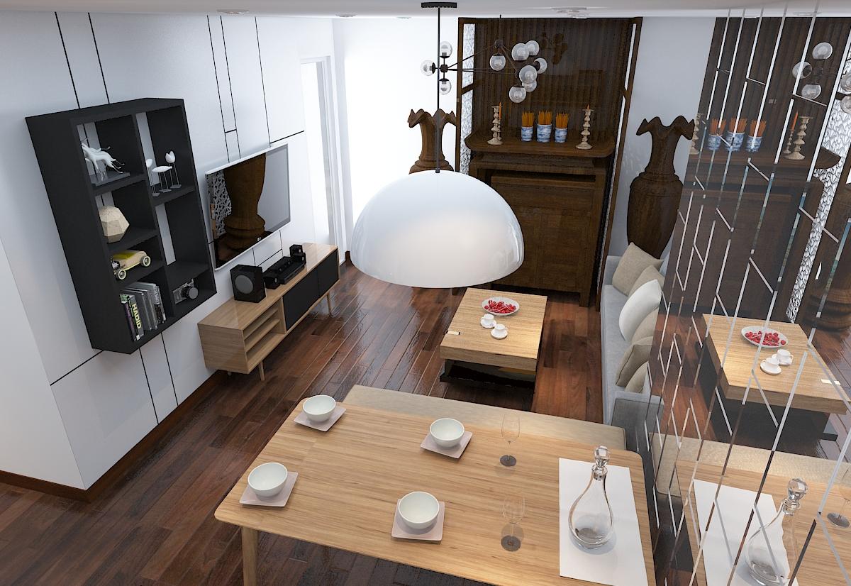 thiết kế nội thất chung cư 120m2 tại quận Hà Đông1